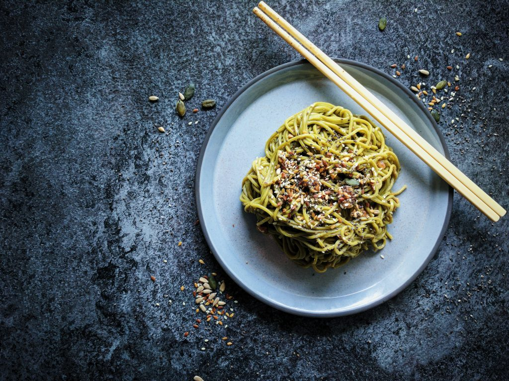 Green Tea Noodles with Sesame and Peanut