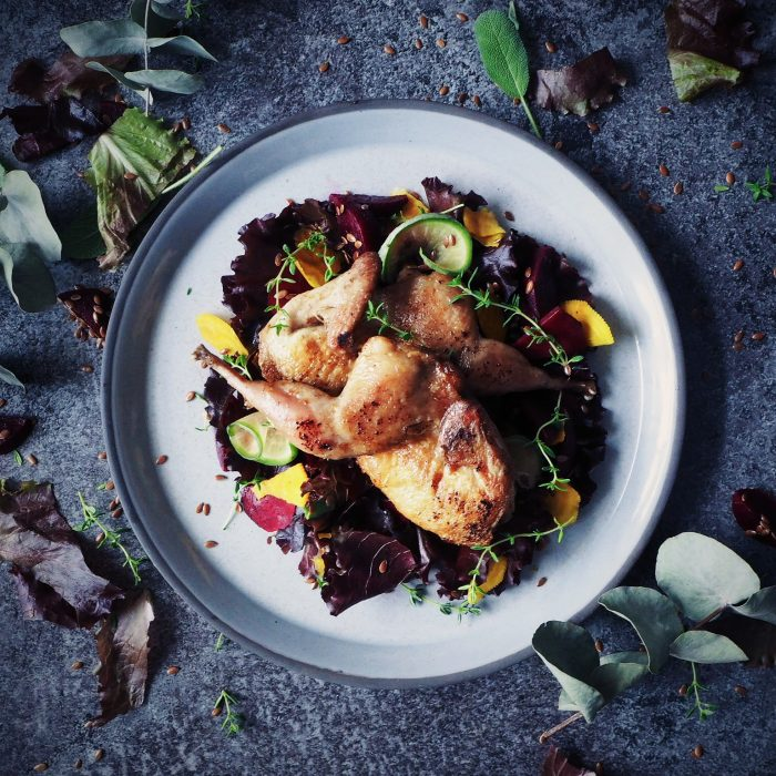 The 'Well Seasoned' Series: Autumn Quail Salad with Damson and Beetroot