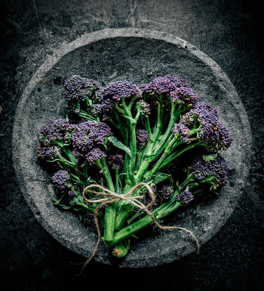 The Well Seasoned Series: Purple Sprouting Broccoli with Violetta Potatoes, Capers and Lemon