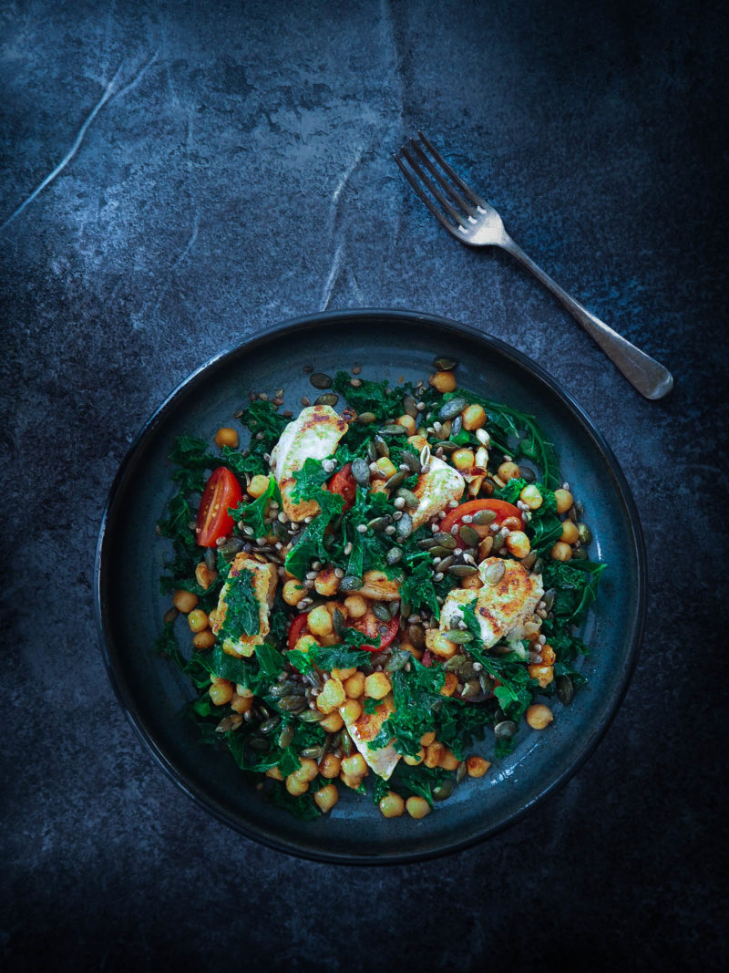 Seeded Kale and Chickpea Salad with Ras El Hanout Spiced Chicken